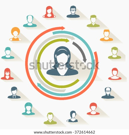 Abstract Paper Elements.Social icons.People icon.People Flat icons collection.User Icons and People Icons with Background.