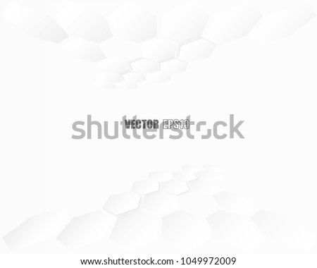 Abstract paper Hexagon white Background ,light and shadow ,Vector  #1049972009