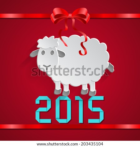 abstract paper sheep with bow