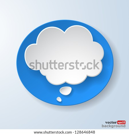 Abstract paper speech bubble on light blue background. Vector eps10 illustration