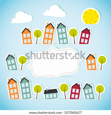 Abstract paper town with banner. Vector illustration.