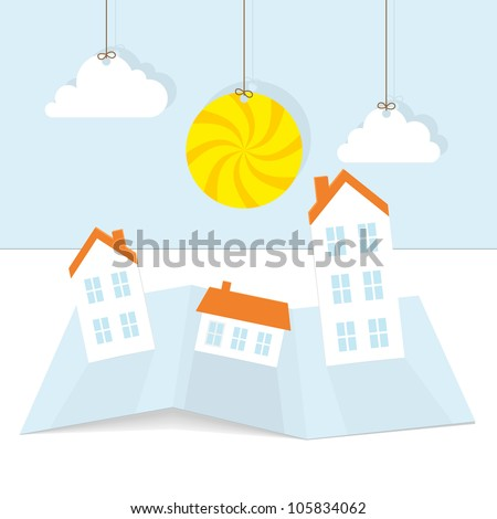 Abstract paper town with sun. Vector illustration. - stock vector