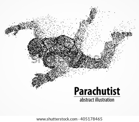 abstract parachutist from black