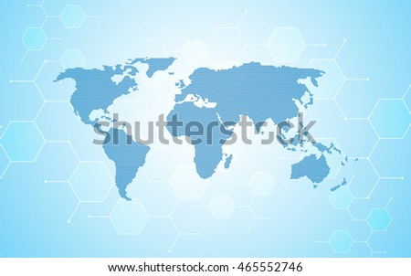 abstract particle molecular atomic design world map network concept background