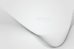 Abstract particle wave background, big data technology glowing dots, hi-tech concept, vector