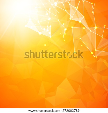abstract particles over orange