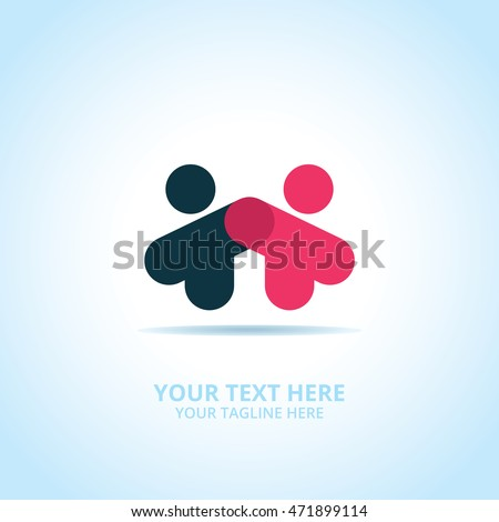 Abstract Partnership logo, design concept, emblem, icon, logotype element for template.