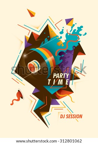 Abstract party poster. Vector illustration.