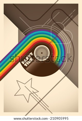 Abstract party poster with rainbow Vector illustration