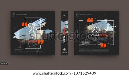 Abstract patch brochure cover design. Black info data banner frame. Techno title sheet model set. Modern vector front page art. Urban city blurb texture. Orange citation figure icon. Ad flyer text