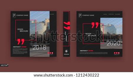 Abstract patch brochure cover design. Black info data banner frame. Techno title sheet model set. Modern vector front page art. Urban city blurb texture. Red citation figure icon. Ad flyer text font
