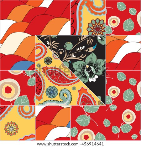 abstract patchwork tile with...