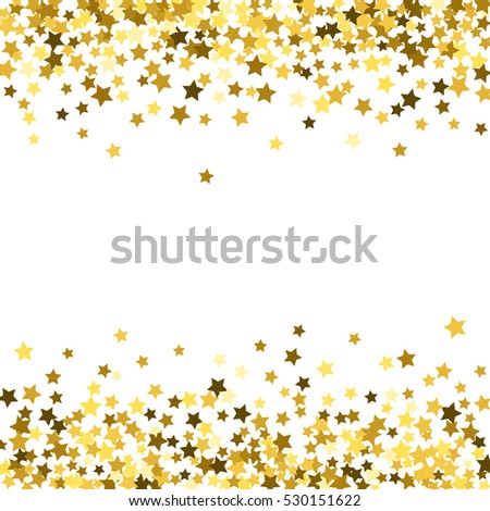 seamless design abstract pattern of random falling gold stars on white background glitter template for banner
