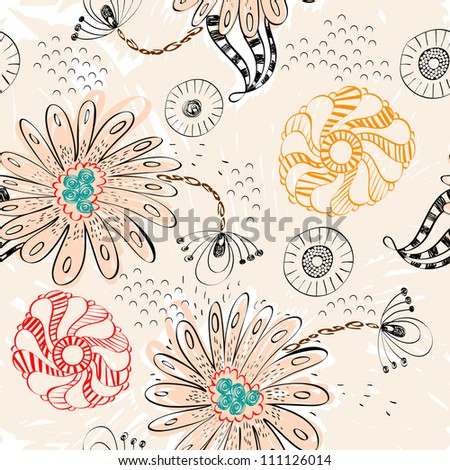 Abstract pattern with  hand-drawn fantasy flowers .