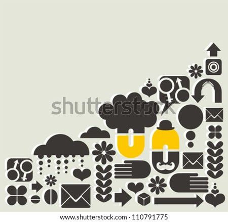 Abstract pattern with man and woman. Vector illustration.