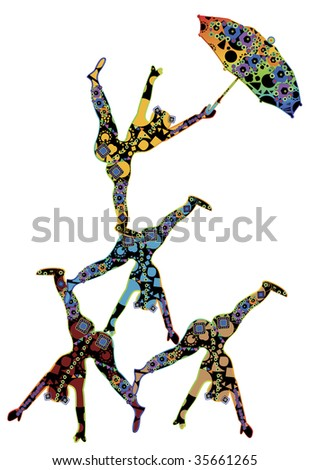 abstract patterned, people in the ethnic style of performing acrobatic number