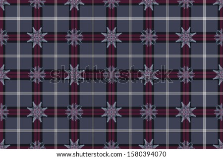 Abstract patterns on a checkered background. Creative option for new types of fabrics. The basis is University of Edinburgh  tartan