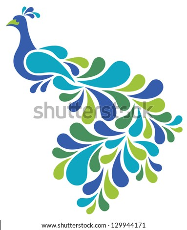 Abstract Peacock illustration of a retro-style bird.