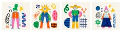 Abstract people and various doodle shapes. Cute disproportionate characters, spots, drops, curves. Different textures. Hand drawn Vector illustration. Set of four isolated cards or posters