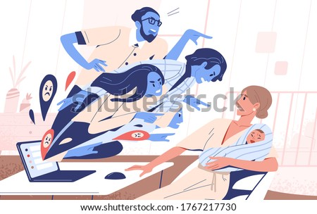 Abstract people blames young mother hold toddler vector flat illustration. Scared female with baby receive criticism from internet use laptop. Social pressure or bullying on woman and mom