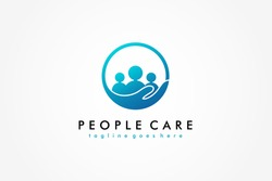 Abstract People Care Logo. Blue Human Icon with Circular Hand Symbol Around isolated on White Background. Flat Vector Logo Design Template Element.