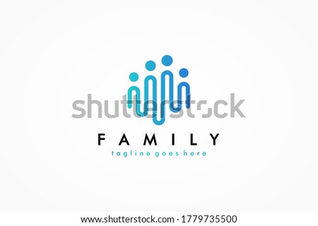 Abstract People Logo. Blue Rounded Line Linked Human Icon Pulse Wave Style isolated on White Background. Usable for Teamwork and Family Logos. Flat Vector Logo Design Template Element