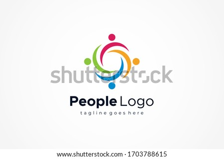 Abstract People Logo. Colorful Twisted Circular Waves isolated on White Background. Flat Vector Logo Design Template Element. Foto stock ©