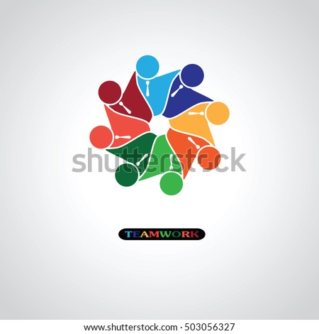 Six people icon. people friends logo… Stock Photo ...