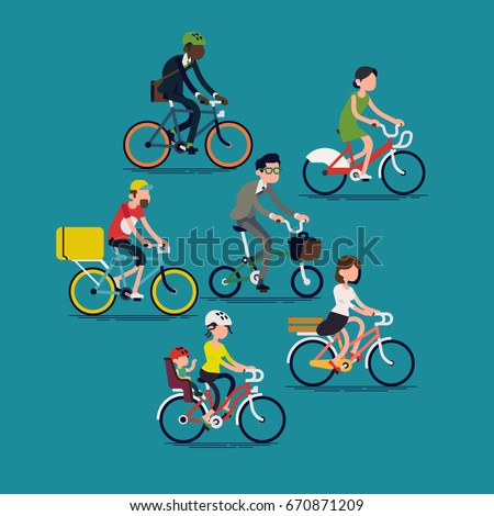 abstract people riding bikes