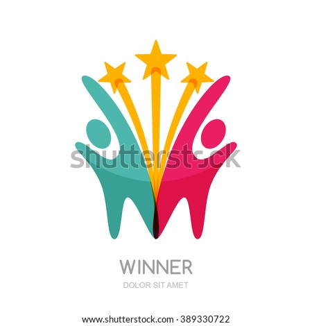 Abstract people silhouette with star firework. Vector logo design template. Concept for teamwork, creativity, training, business partnership, sport team.