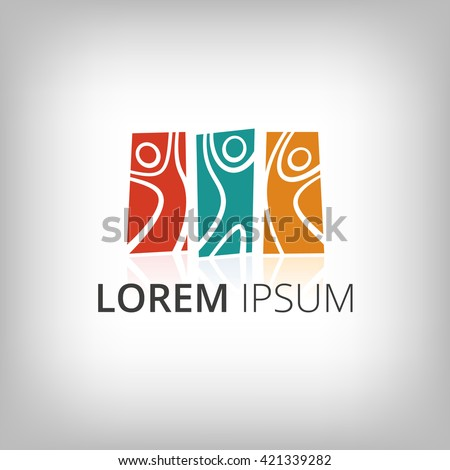 Abstract people silhouettes. Vector logo design template. Concept for teamwork, business partnership, sport team.