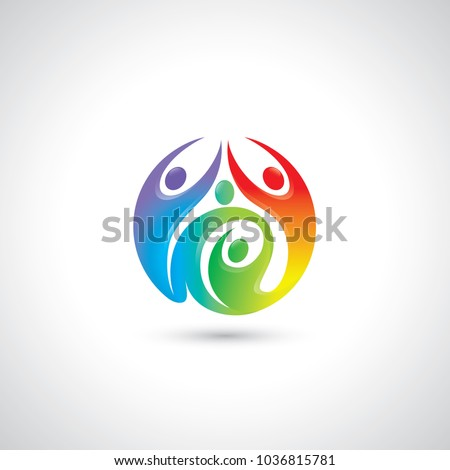 Abstract people symbol in shape of a circle - vector illustration