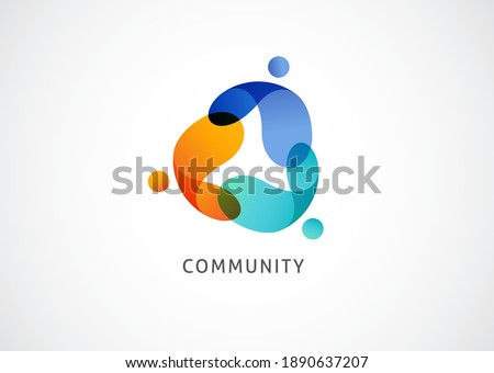 Abstract People symbol, togetherness and community concept design, creative hub, social connection icon, template and logo set