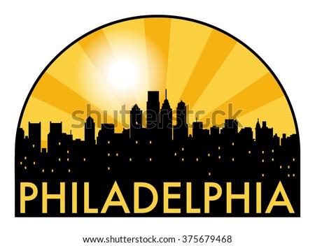 Abstract Philadelphia skyline in the evening, with warm orange burst, vector illustration