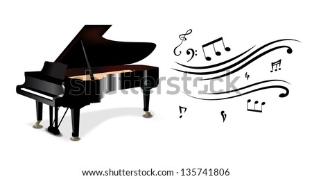 Abstract piano with notes