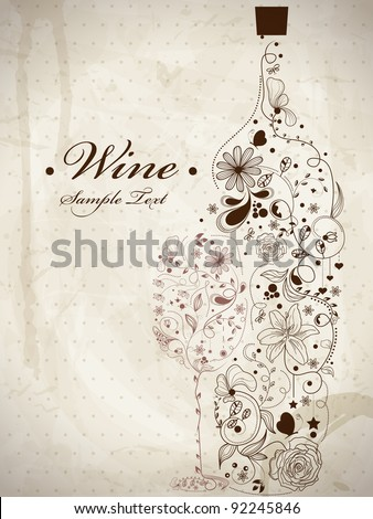 Abstract picture of wine bottle and wine glass - stock vector