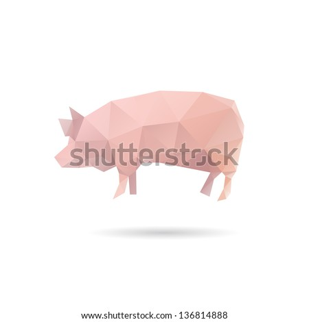 Abstract pig isolated on a white backgrounds, vector illustration