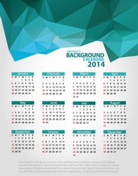 Abstract pilygon background with triangles blue - polygons 2014 year. Vector EPS 10 illustration.