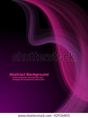 Abstract  pink and purple transparent waves on dark  background. Vector illustration.