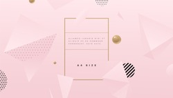 Abstract pink cute background with geometric elements for minimal cosmetics cream posters, placards and brochures. Eps10 vector illustration.