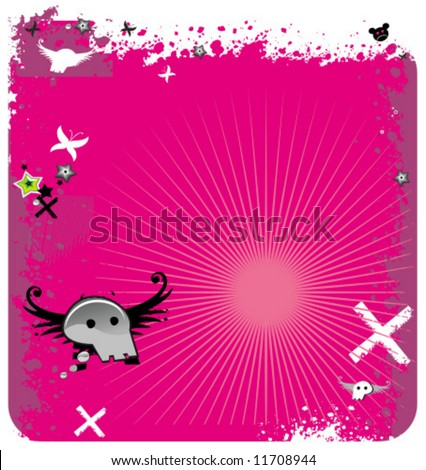 Abstract pink emo background with skull. To see similar, please VISIT MY GALLERY.