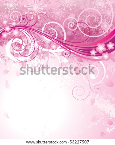 Abstract pink floral background in pink. vector layered.