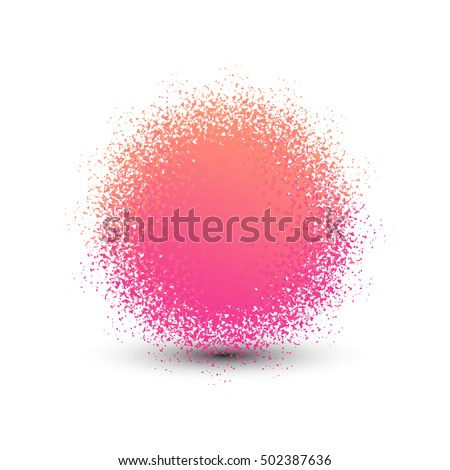 Abstract pink fluffy isolated sphere with shadow logo. Round shape fuzzy kids ball logotype. Shining sun icon. Soft material pompon toy sign. Vector sphere illustration