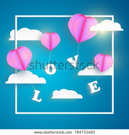 abstract pink heart balloon carrying LOVE letter in blue sky with white clouds and frame. Happy valentines day vector greetings card design #784752682