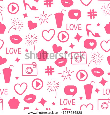 Abstract pink icon texture. Like girly pattern. Seamless design surface background. Vector illustration Kiss, like, heart, camera, beauty party.