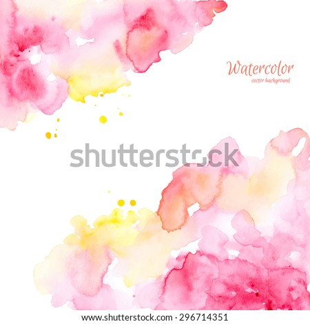 Abstract pink yellow hand drawn watercolor background,vector illustration. Watercolor composition for scrapbook elements. Watercolor shapes on white background.