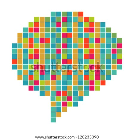 Abstract pixel art in social speech bubble shape. Vector file layered for easy manipulation and custom coloring.