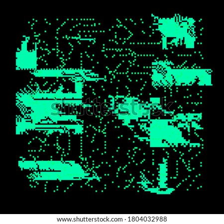 Abstract pixelated background with flickers and datamoshing effect. Cyberpunk style aesthetics. Foto stock ©