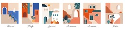 Abstract places, villages, small streets, old towns in Morocco, Mexico, Greece and Italy in pastel colors. Vector illustrations and design