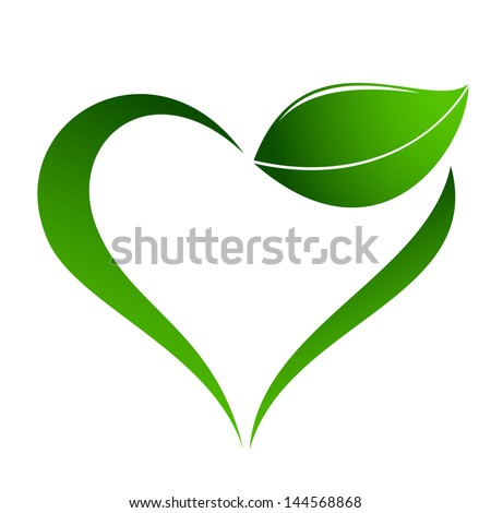 abstract plant icon with heart